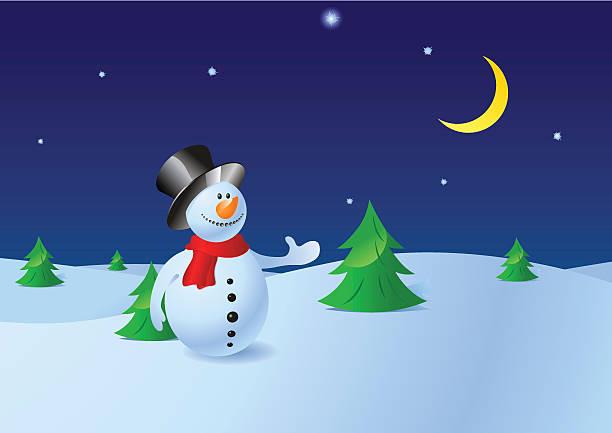Snowman's greetings vector art illustration
