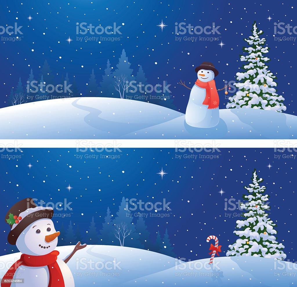 Snowmen banners - Illustration vectorielle