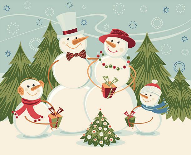 ilustrações de stock, clip art, desenhos animados e ícones de bonecos de neve família - family christmas