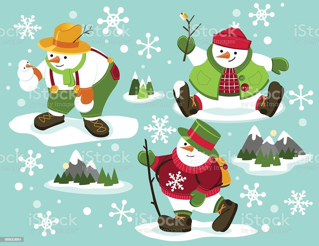 Snowmen Hikers royalty-free snowmen hikers stock vector art & more images of button - sewing item