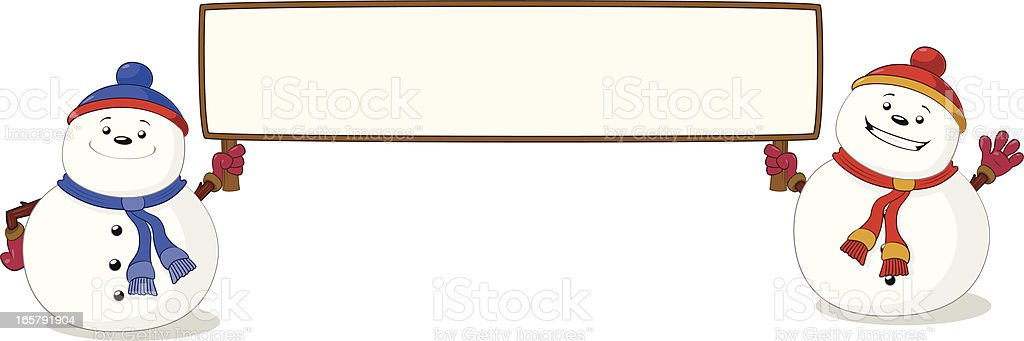Snowmen holding a blank sign vector art illustration