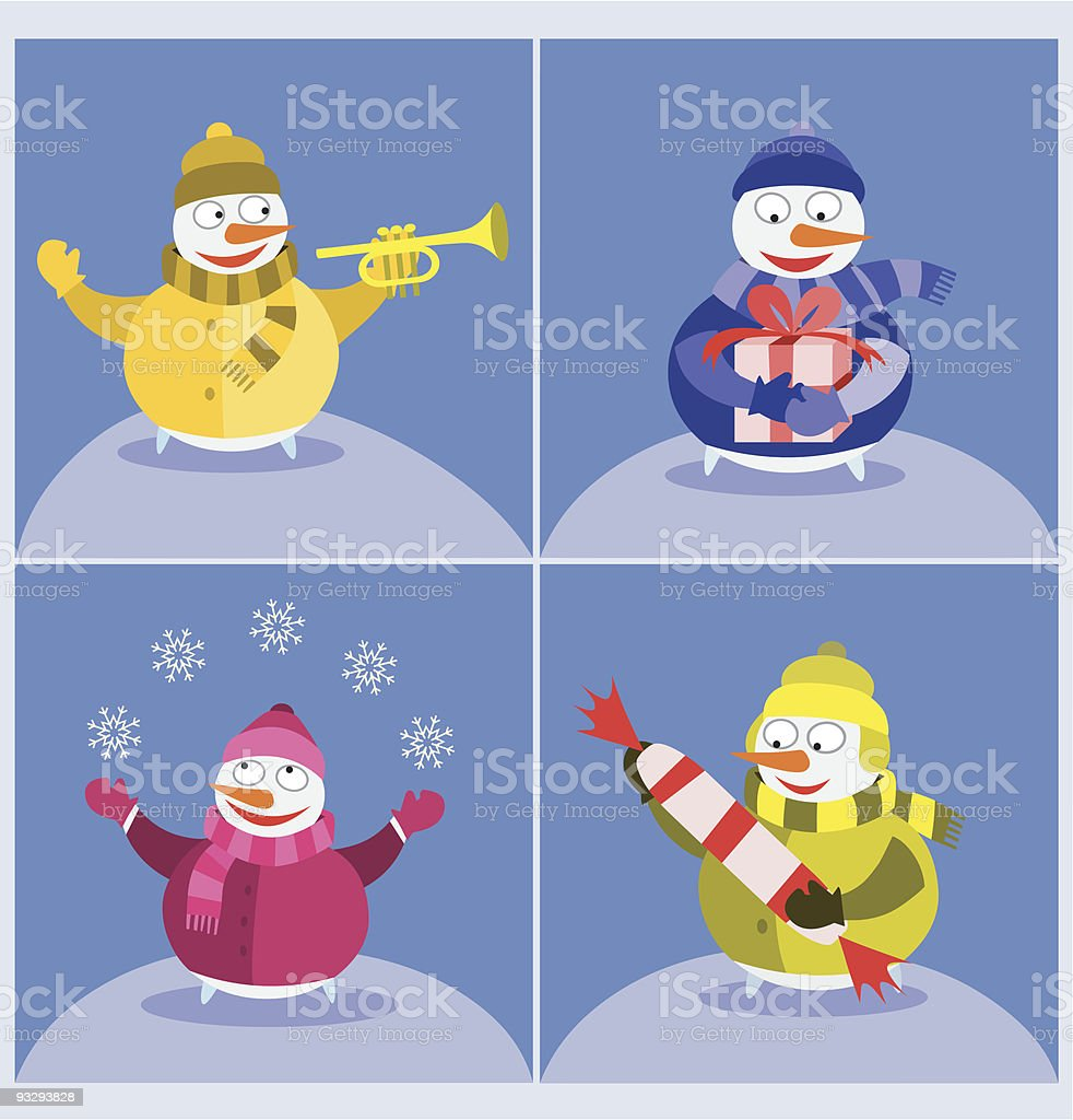 Snowmen images - Day royalty-free stock vector art