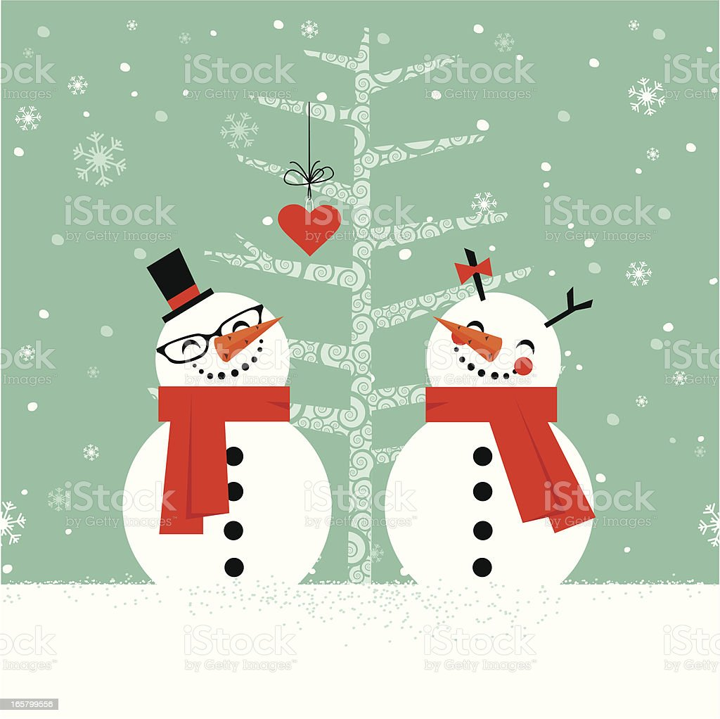 Snowmen in love royalty-free stock vector art