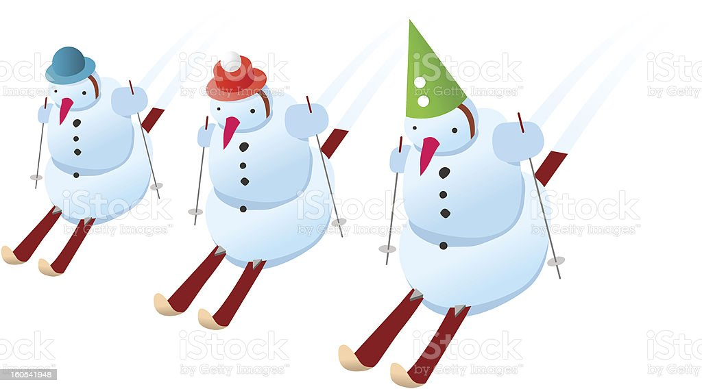 Snowmen on skis royalty-free snowmen on skis stock vector art & more images of activity