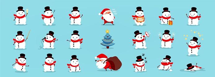 Snowmen Santa Claus and Christmas tree, big Christmas and New Year vector set
