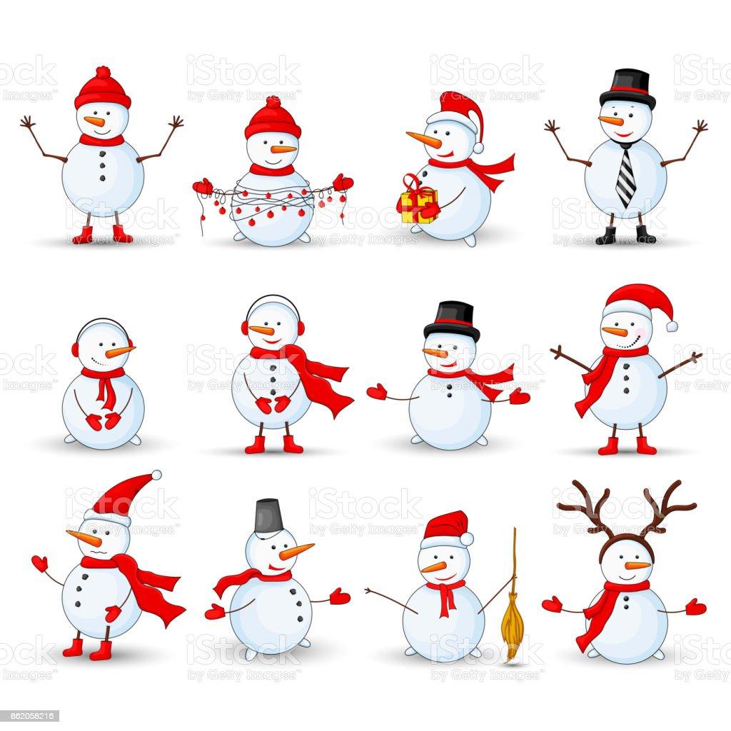 Bonhommes de neige sur fond blanc isolé - Illustration vectorielle