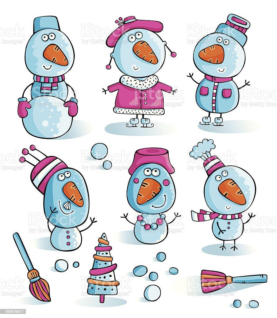 Snowmen set royalty-free stock vector art