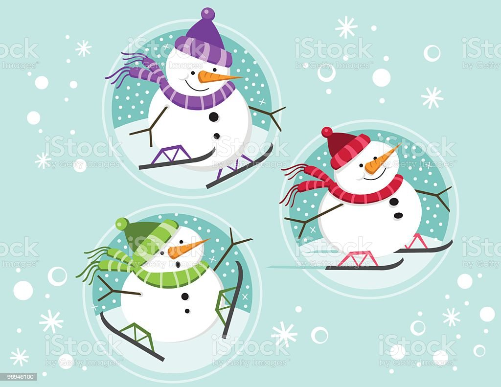 Snowmen Skating in circles royalty-free snowmen skating in circles stock vector art & more images of carrot