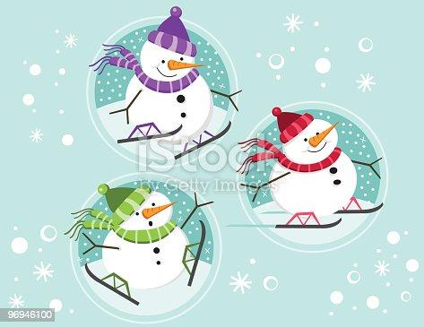 Snowmen Skating In Circles Stock Vector Art & More Images of Carrot 96946100
