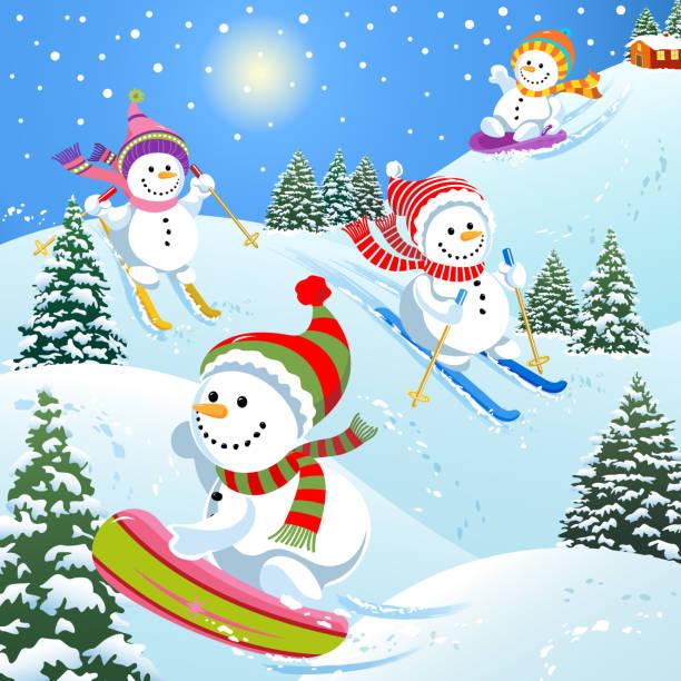 snowmen narciarstwo i snowboard, reniferów - happy holidays stock illustrations
