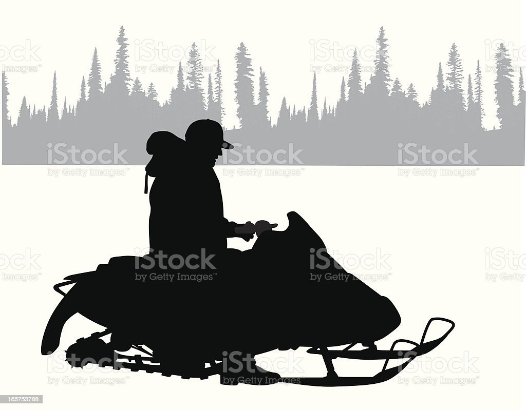 Snowmobile North Vector Silhouette royalty-free stock vector art