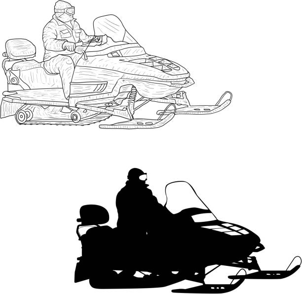 Snowmobile with driver silhouette sketch on white background vector art illustration