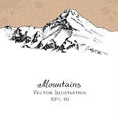 Snow Peak. Hand drawn Vector Illustration