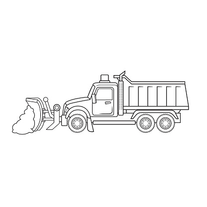 Snowplow snowplough motor grader snow removal truck equipment machine vehicle. Only black and white for coloring page, children book.