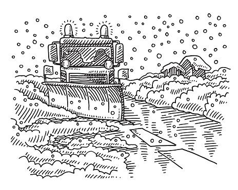Snowplow Winter Road Service Drawing
