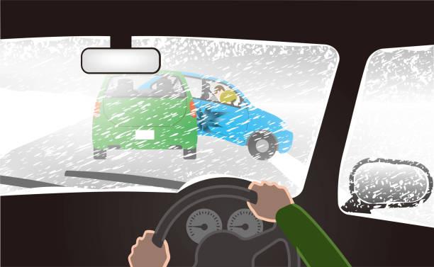 bildbanksillustrationer, clip art samt tecknat material och ikoner med snöstorm. olyckan påträffade i vitt ut skick. - krockad bil