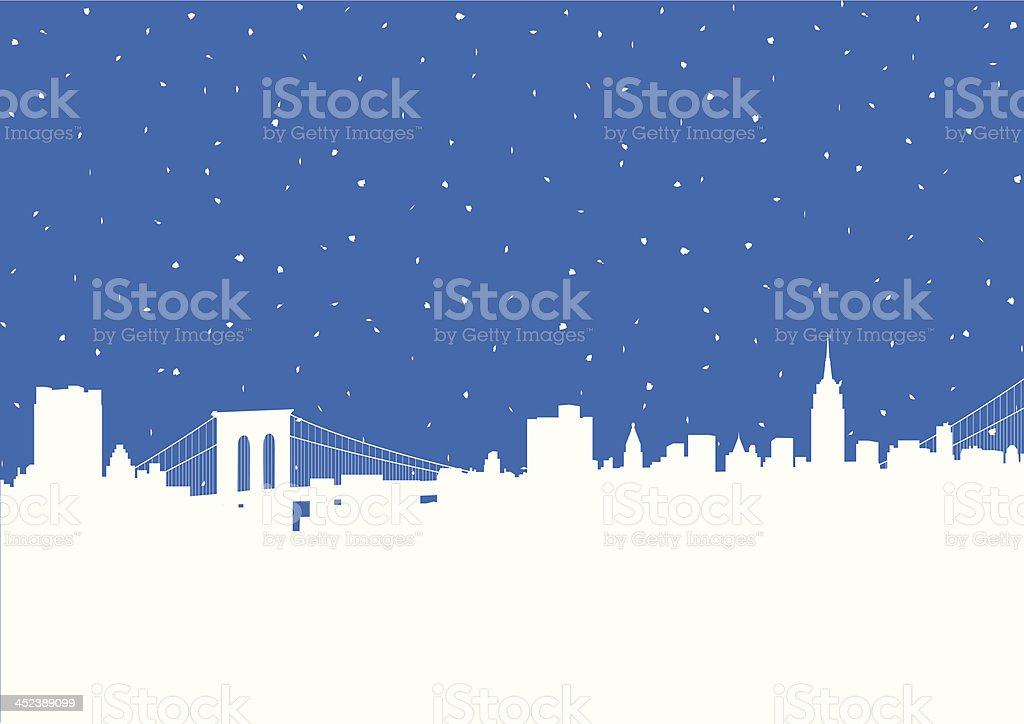 NYC Snowstorm vector art illustration