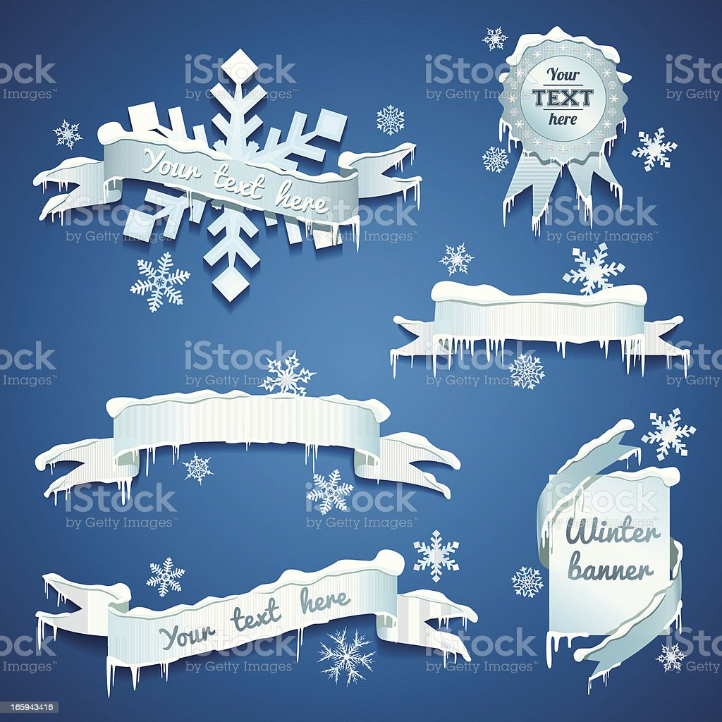 Snow/Winter banners royalty-free snowwinter banners stock vector art & more images of badge