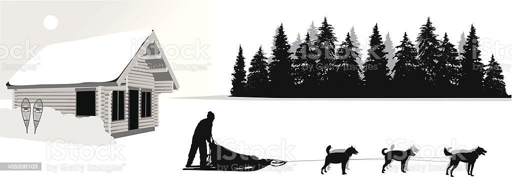 Snowy Adventures Vector Silhouette royalty-free stock vector art