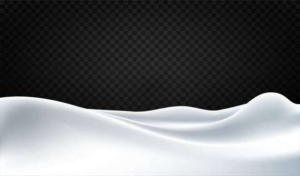 Snowy background with huge snowdrifts isolated on transparent background. Snow pile with realistic snow texture. Beautiful winter landscape, design element Snowy background with huge snowdrifts isolated on transparent background. Snow pile with realistic snow texture. Beautiful winter landscape, design element. Vector snowdrift stock illustrations