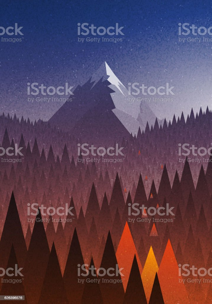 Snowy big mountain and forest fire. - Royalty-free Abstract vectorkunst