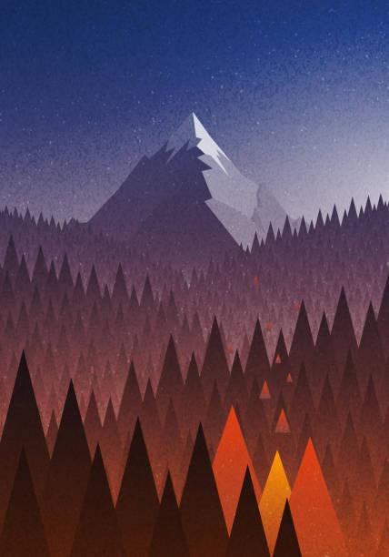 stockillustraties, clipart, cartoons en iconen met snowy big mountain and forest fire. - illustraties van bosbrand