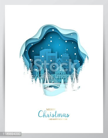Snowy Boston city. Paper art greeting card. Merry Christmas and Happy New Year Boston. Vector illustration.