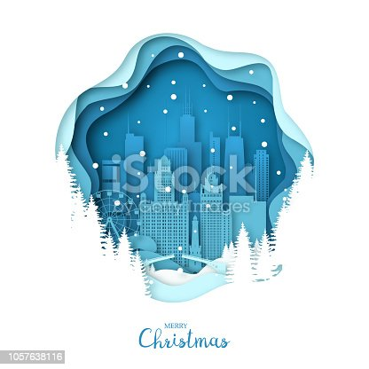 Snowy Chicago city. Merry Christmas paper art greeting card. Vector illustration.