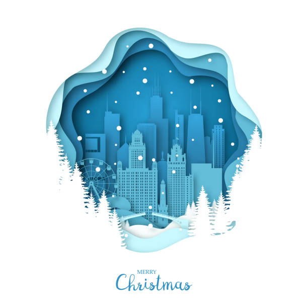snowy chicago city. merry christmas paper art greeting card. vector illustration. - architecture silhouettes stock illustrations