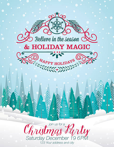 Snowy Christmas Card with Forest And Holiday A Seasonal Decoration Snowy Christmas Party Invitation with Forest And Holiday A Seasonal Decoration. christmas dinner stock illustrations