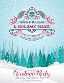Snowy Christmas Card with Forest And Holiday A Seasonal Decoration