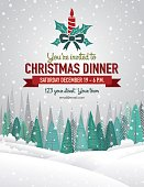 Snowy Christmas Party Invitation with Forest And Holiday A Seasonal Decoration.