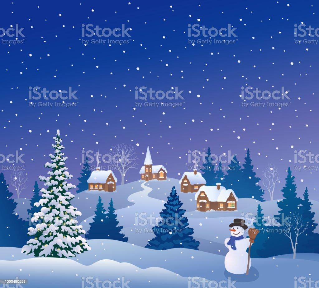 雪のクリスマスイブ - イラストレーションのベクターアート素材や画像 ...