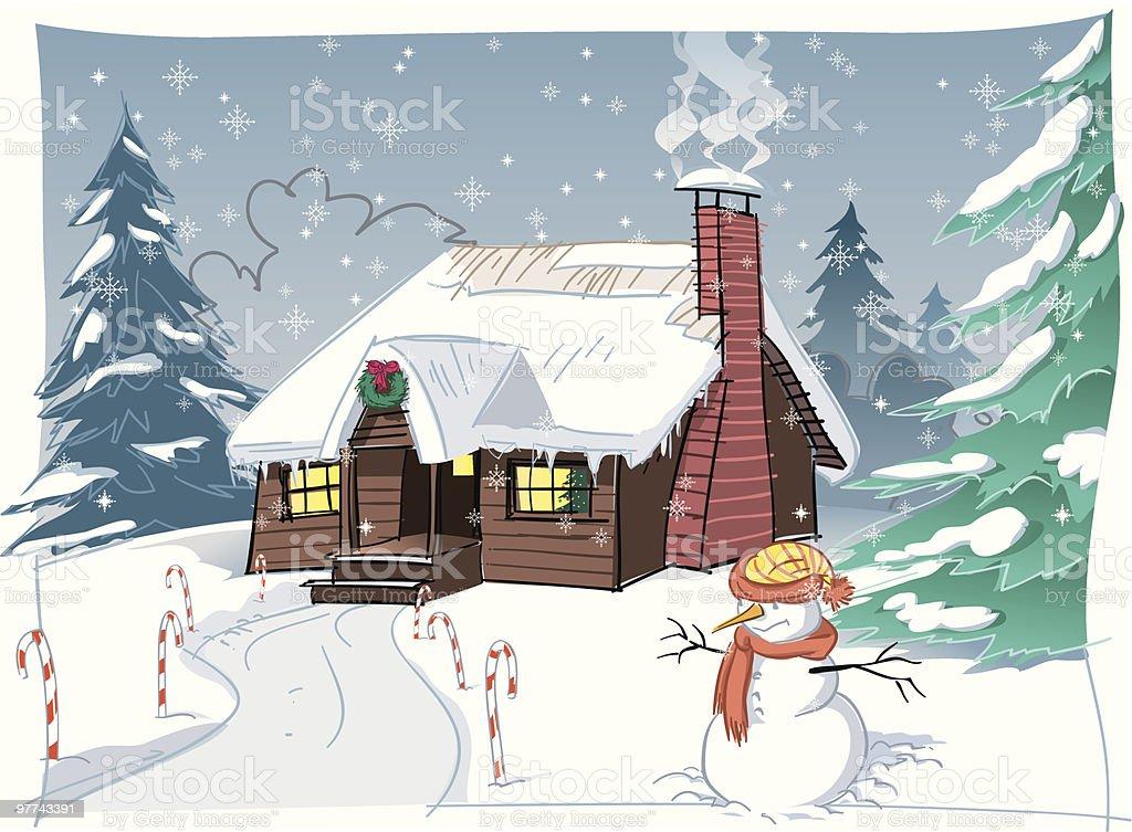 Snowing Christmas Scene.Snowy Christmas Scene Stock Illustration Download Image