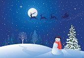Vector illustration of a Christmas night with Santa Claus sleigh driving over snowy woods, and greeting snowman.