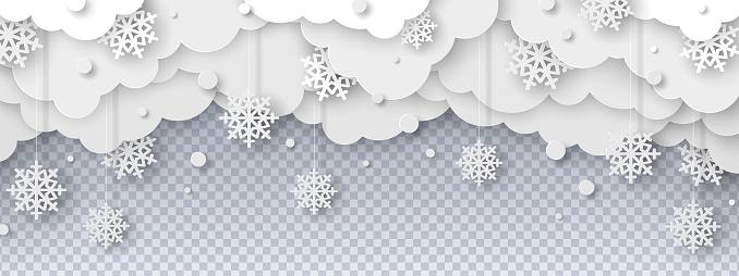 Snowy clouds paper cut