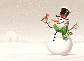 A snowman and a bird on a snowy winter day. Winter illustration with space for text. EPS 10- image contains transparencies, grouped and labeled in layers.