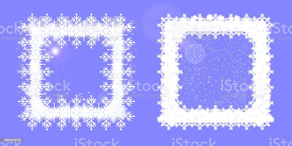 Snowy frame square. Set of two Christmas design elements. vector art illustration