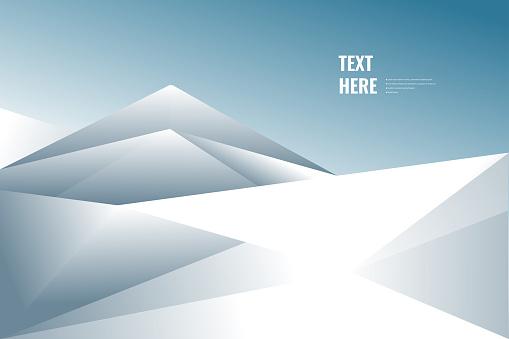 Snowy geometric winter landscape