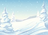 llustration of a snowy winter landscape. EPS 10, image contains transparencies.