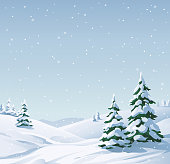 Idyllic winter landscape with snowy fir trees and hills. Vector illustration with space for text.