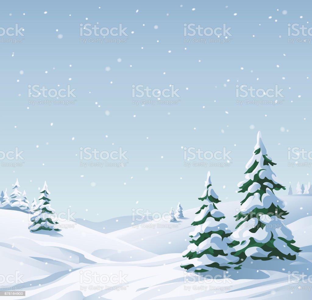 Verschneite Landschaft – Vektorgrafik