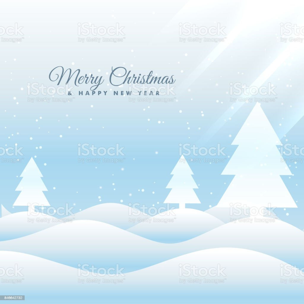 Snowy Merry Christmas Greeting Card Template Stock Vector Art More