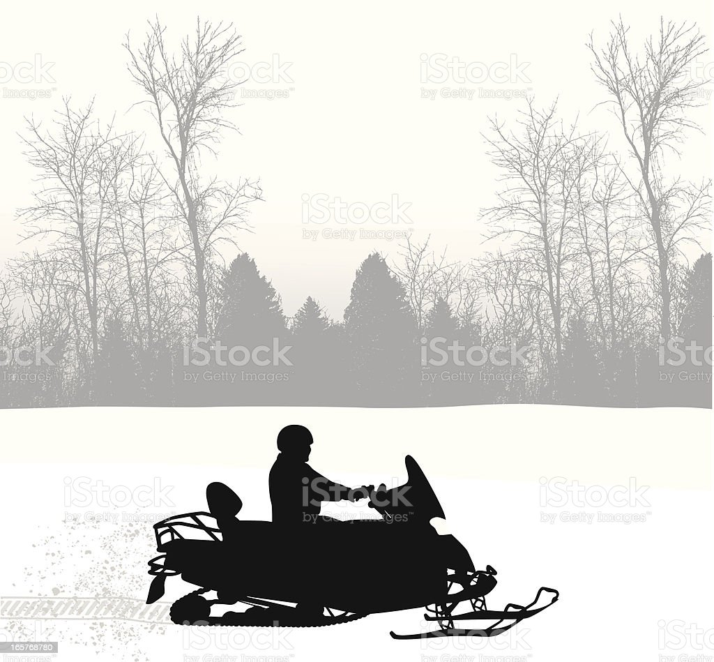 Snowy Mobile Vector Silhouette royalty-free stock vector art