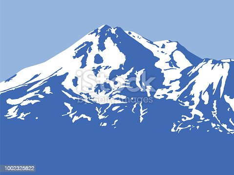 Vector illustration of a blue mountain with snow on it against a light blue sky.