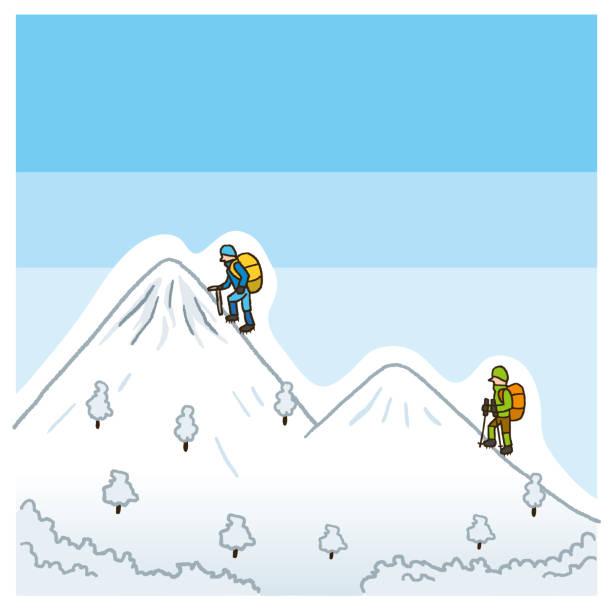 Snowy mountain vector art illustration