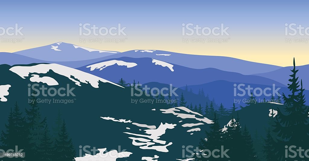 Snowy mountains at sunrise with silhouettes of trees. vector art illustration