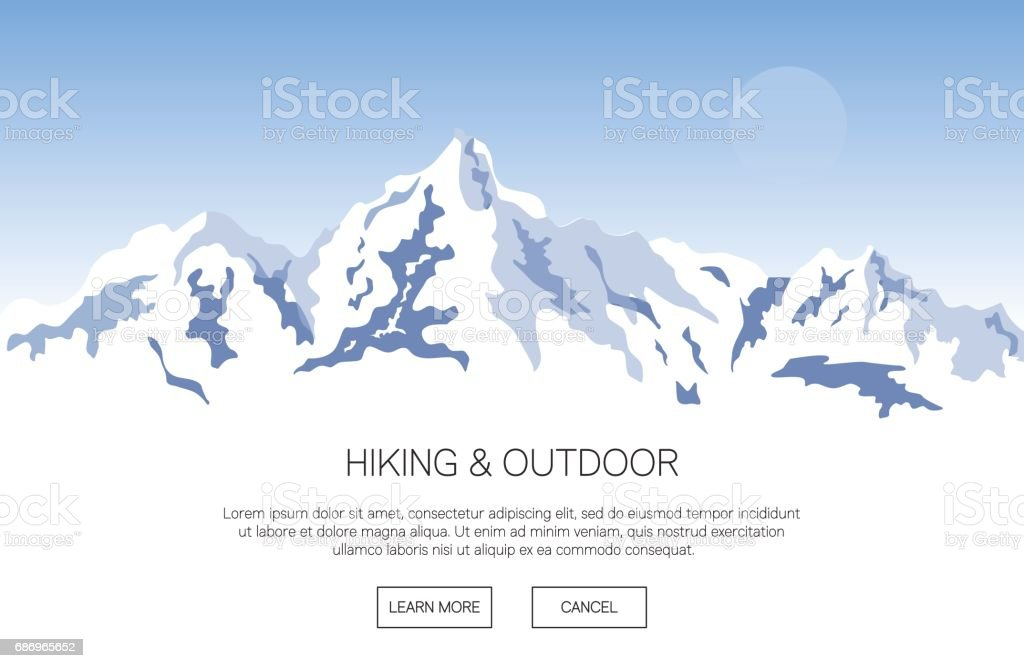 Snowy mountains background with place for text vector art illustration