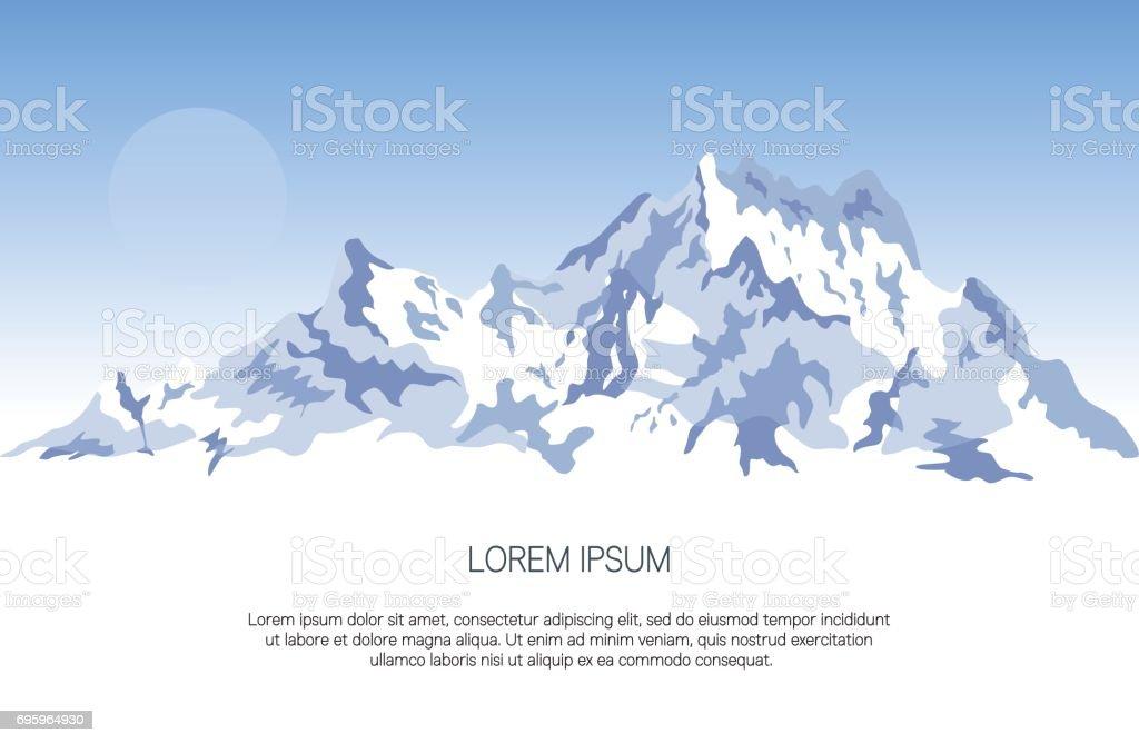 雪山背景テキストのためのスペース横断幕ポスターまたは Web デザインの