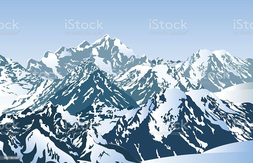 Snowy mountains in the morning. vector art illustration